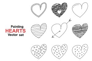 Set of hand drawn painting hearts.