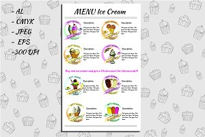 Ice Cream Vector Menu
