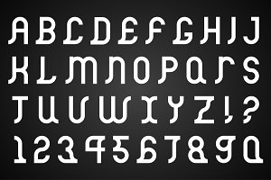 Vector alphabet set. B&W Font.