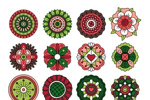 Doodle ethnic flowers collection