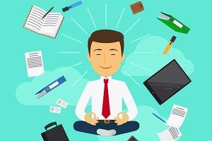 Business yoga vector illustration
