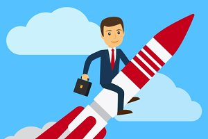 Businessman on rocket