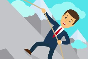Businessman uphill climb