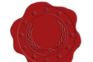 Vector Red Wax Seal Star and Laurel