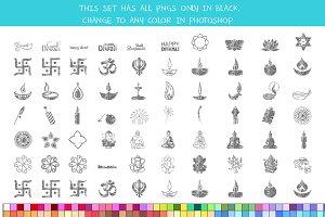Crayon Diwali Symbols