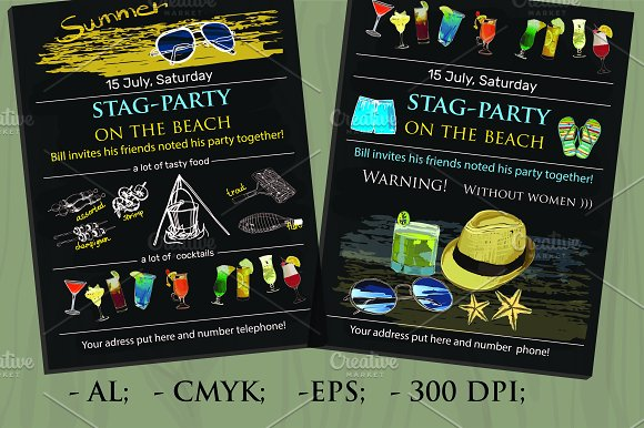 StagParty Invitation Vector Invitation Templates Creative Market – Stag Party Invitation