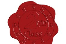 Second Class Red Wax Seal with Stars