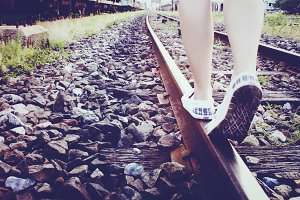 Walking on a railway in Thailand