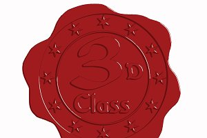 Third Class Red Wax Seal with Stars
