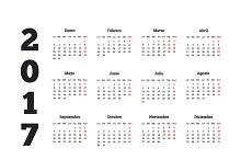 2017 year simple calendar in spanish
