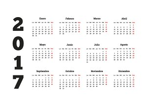 2017 year simple calendar in spanish