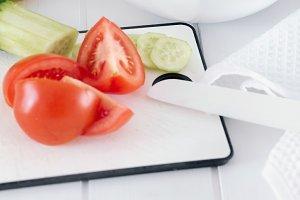 Making a fresh summer green salad