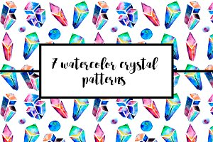 Watercolor crystals patterns