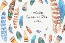 Boho watercolor feathers