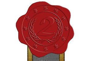 Second Place Red Wax Seal + Ribbon