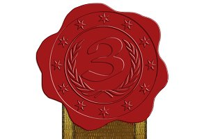 Third Place Red Wax Seal + Ribbon