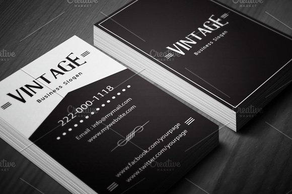 Vintage business card template business card templates creative vintage business card template business card templates creative market wajeb Choice Image