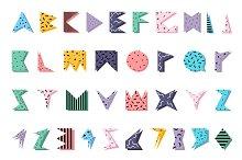 Color alphabet in memphis style.