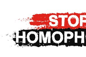 Stop homophobia grunge sign. Vector
