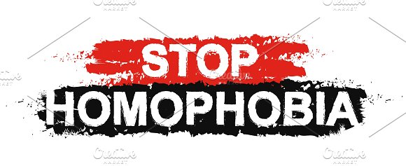 Stop homophobia grunge sign. Vector - Illustrations