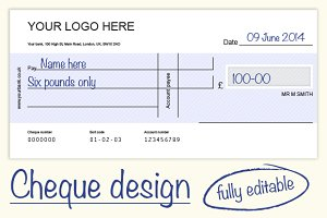 Cheque/check design - 4 colours