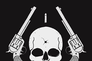 Wild west skull with pistols. Vector