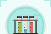 Test tubes color icon. Vector