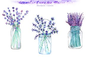 Watercolor Lavender Mason Jar