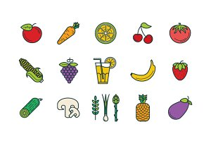 Fruits & Vegetables icons set