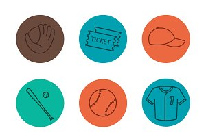 Baseball equipment. 9 icons. Vector