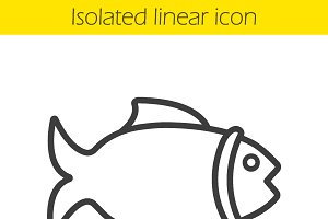 Fish linear icon. Vector