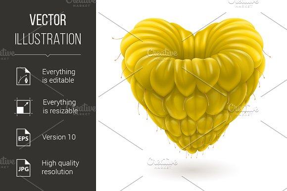 Yellow raspberry heart.