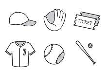Baseball equipment. 9 icons. Vector