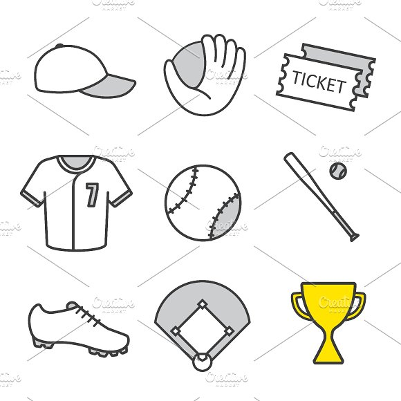 Baseball equipment. 9 icons. Vector - Icons
