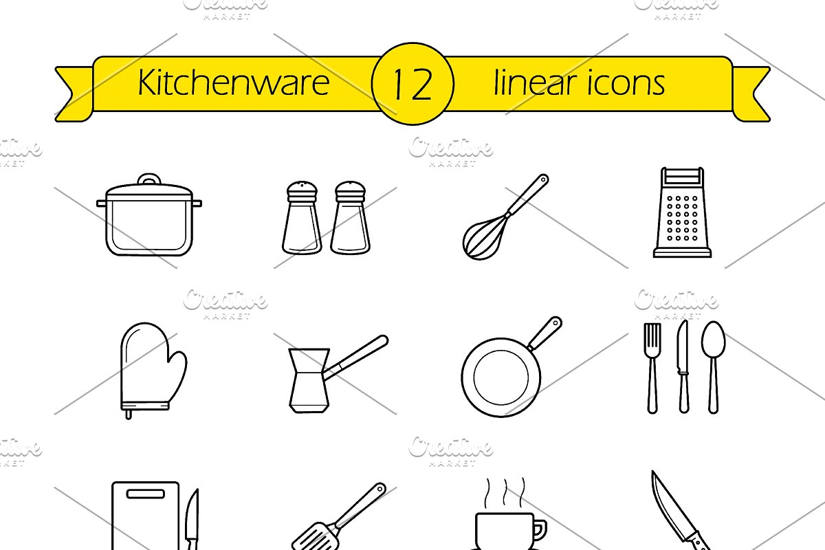 Kitchenware. 12 linear icons. Vector