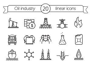Oil industry. 20 icons. Vector