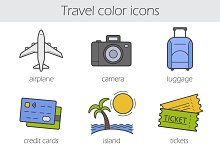 Traveling. 9 color icons. Vector