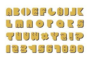 Vector alphabet. Gold memphis font.
