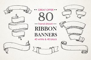 Ribbon Banners. Big Hand Drawn Set.