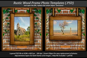 Rustic Wood Frame Photo Template