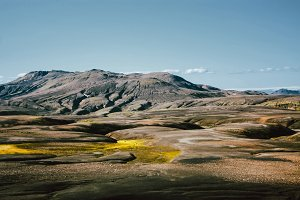 Landscape with moss in Iceland. Mountain and volcanic area
