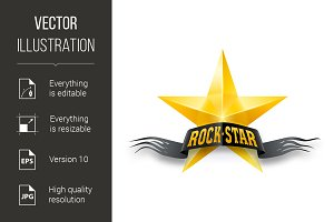 Golden star with Rock Star banner