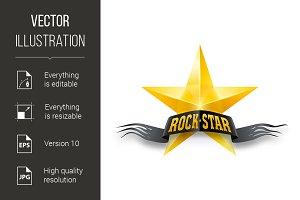 Golden star with Rock Star banner