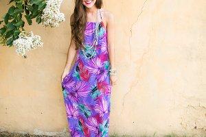Violet Floral Dress for Summer Days
