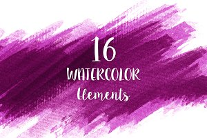 16 Pink Watercolor Design Elements