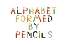 Alphabet formed by pencils.