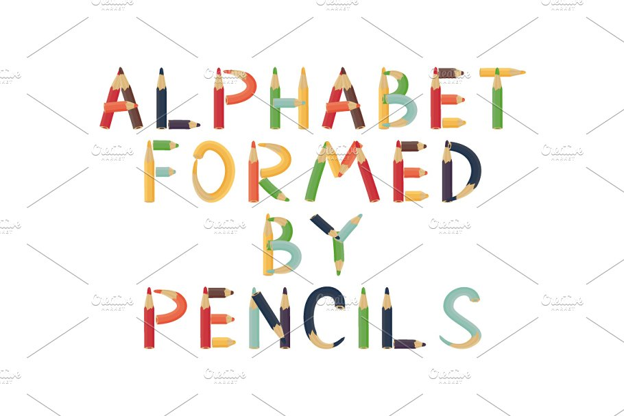 Alphabet formed by pencils