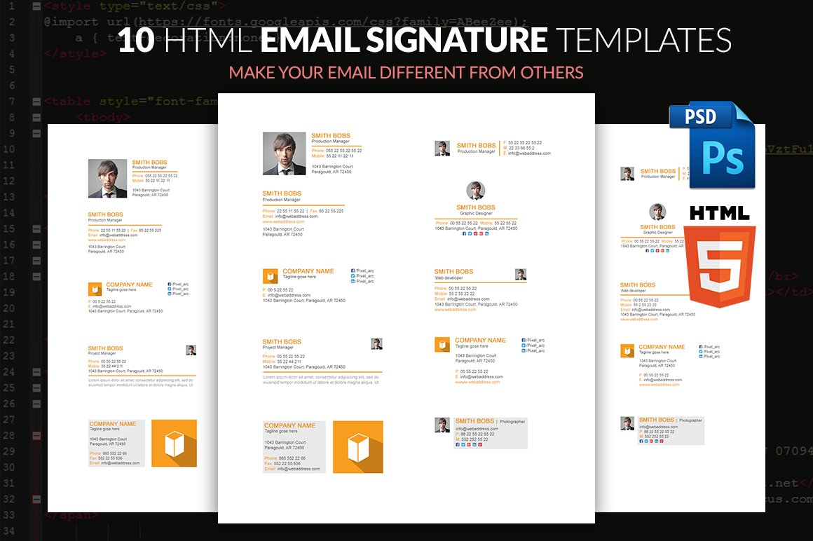 EMAIL SIGNATURE TEMPLATE WITH HTML ~ Web Elements ~ Creative Market