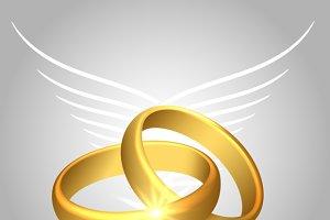 Wedding rings with angel wings
