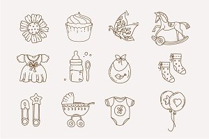 Baby doodle Icons for boys and girls